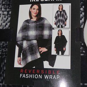 IKE BEHAR Reversible Wrap Poncho Black Gray New